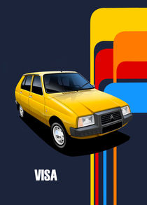 Citroen Visa Poster Illustration by Russell  Wallis