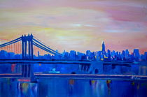 Blue Manhattan Skyline with Bridge and Vanilla Sky- by M.  Bleichner