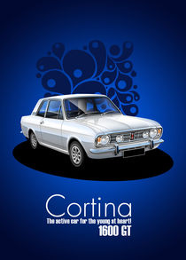 Ford Cortina 1600GT Poster illustration by Russell  Wallis