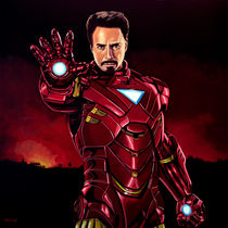 Robert Downey Jr. as Iron Man painting by Paul Meijering