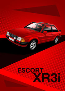 Ford Escort XR3i Poster Illustration by Russell  Wallis