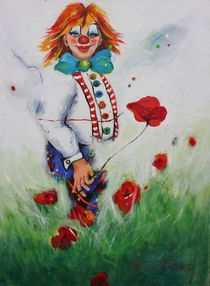 Clown im Mohnfeld by Barbara Tolnay