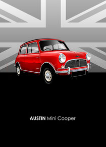 Austin Mini cooper Poster Illustration by Russell  Wallis