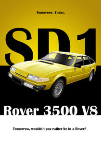 Rover SD1 3500 Poster Illustration  by Russell  Wallis