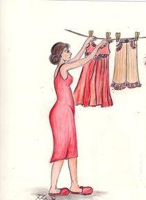 MaMamsell hängt die Wäsche auf ©KatKaciOui von Katrin KaciOui