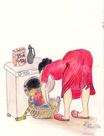MaMamsell wäscht Wäsche © KatKaciOui von Katrin KaciOui