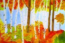 Golden autumn in the birch forest by nellyart