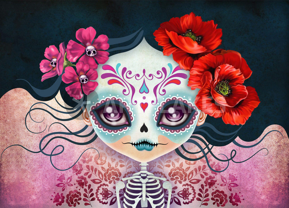 amelia calavera sugar skull digital art art prints and posters by