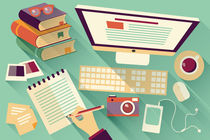 Flat Design Office Desk 04