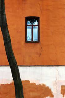 'One blue window in the red-brown wall' by helenlir