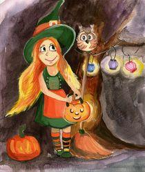 Halloween, Hexe, Nacht, Kürbis von Alina  Rupprecht