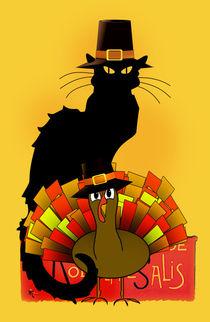Thanksgiving Le Chat Noir With Turkey Pilgrim von gravityx9