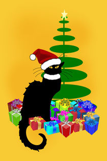 Christmas Le Chat Noir With Tree and Gifts by gravityx9