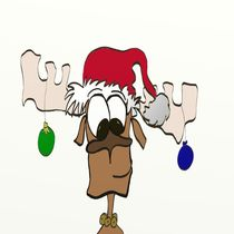 The Reindeer With Santa Hat von Michelle Brenmark
