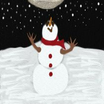 The Snowman Enjoying The Moon by Michelle Brenmark