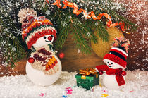 Christmas background with Snowman and gifts  by larisa-koshkina