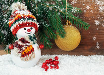 Christmas background with Snowman  by larisa-koshkina