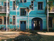 Blue urban art sculpture house wall von Kirsty Lee