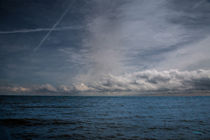 Contrails And Rainclouds Over Lake Michigan by John Bailey