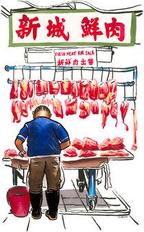 Butcher in Sheung Shui street market, Hong Kong. von Michael Sloan