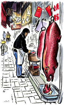Butcher at Tai Po market, Hong Kong.  von Michael Sloan