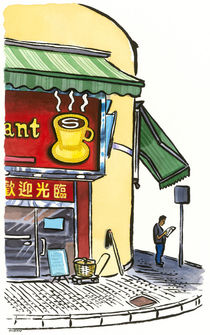 Coffee shop, Tai Po market, Hong Kong von Michael Sloan