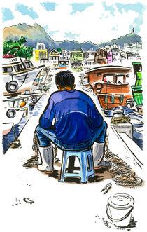 Fisherman repairing his net, Sai Kung, Hong Kong by Michael Sloan