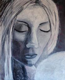 """Acrylbild 80x100 Portrait """" Schutzengel weiß"""" von Silvia Kafka"""