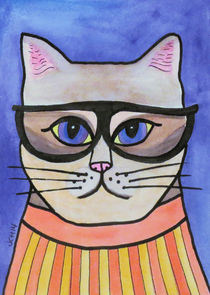 Hipster Cat by Jo Claire Hall