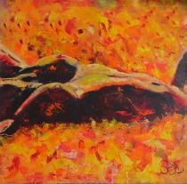 """Acrylbild 90x90 """"Blumenbad"""" von Silvia Kafka"""