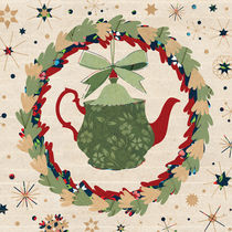 Christmas Teapot inside the Wreath
