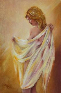 Frauenakt mit Tuch - erotische Gemälde von Marita Zacharias