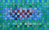 Quadratische Anordnungen in blau und grün von Martin Uda