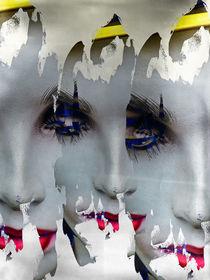 Three splitted faces by Gabi Hampe