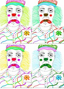 Bright spark the sad clown x 4 by Amanda Elizabeth  Sullivan