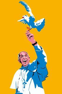 Papst mit Taube Gelb von Robert Bodemann