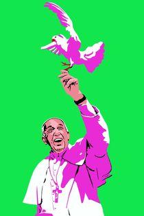 Papst mit Taube Gruen von Robert Bodemann