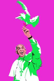 Papst mit Taube Pink von Robert Bodemann