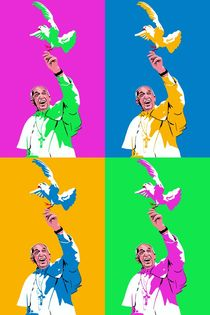 Papst mit Taube Pop Art Mix von Robert Bodemann