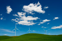 Modern Windmills with Clouds by Wolfgang Kaehler