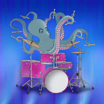 Octopus Playing Drums - Blue von ornaart