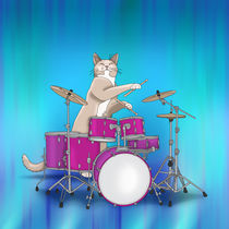 Cat Playing Drums - Blue von ornaart