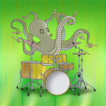 Octopus Playing Drums - Green von ornaart