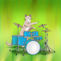 Cat Playing Drums - Green von ornaart