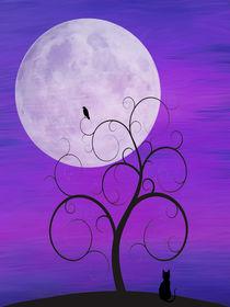 Purple Moon Cat by dreambeyondart