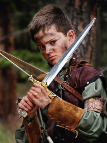 Robin Hood with sword in forest portrait by Söndra Rymer