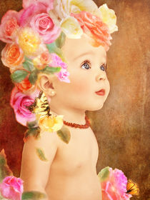 Close-up portrait of rose fairy child by Söndra Rymer