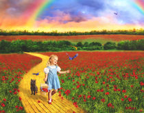Dorothy and Toto in Oz poppy field  by Söndra Rymer