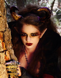 Maleficent stares out in a close-up portrait von Söndra Rymer