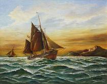 Segelschiff auf See - Maritime Gemälde von Marita Zacharias